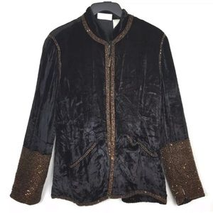 Soft Surroundings velvet beaded blazer